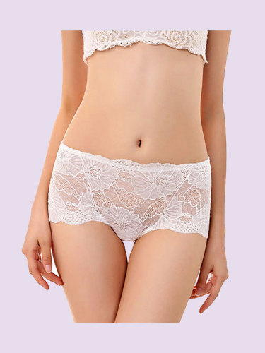OneBling Mid Rise Floral Lace Panty with Scallop Trim