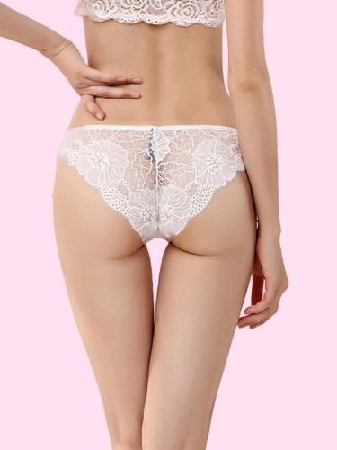 OneBling Scallop Floral Lace Panty with Ribbon Bow Front