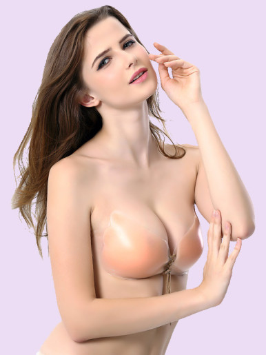 OneBling Lace-Up Front Wing Shape Silicone Invisible Bra