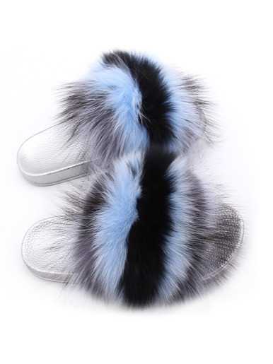 OneBling Fuzzy Faux Fur Sliders with Sliver Sole