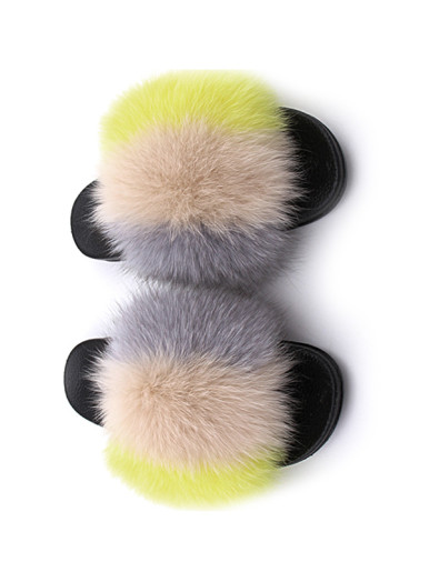 OneBling Colour Block Fluffy Faux Fur Sliders