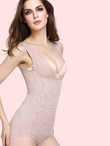 OneBling Plus Size Contrast Lace Trim Firm Control Shapewear Bodysuit