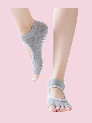 OneBling Instep Hollow Out Half Toe Grip Anti-Slip Ballet, Yoga Toe Socks for Women