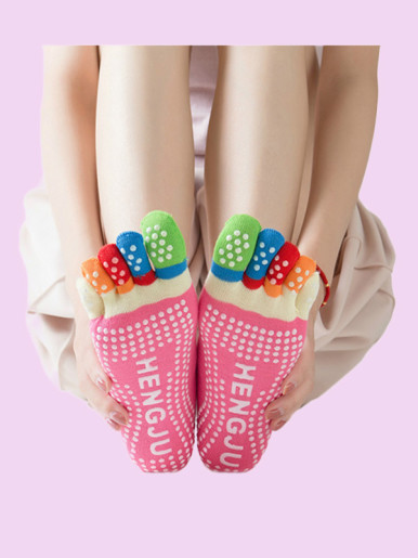 OneBling Women Cotton Socks Anti-Slip Five Toe Scocks
