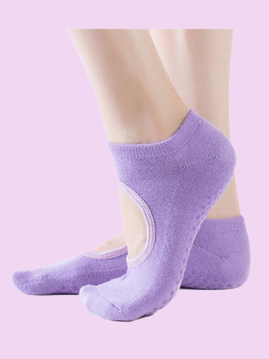 OneBling Full Toe Grip Anti-Slip Yoga,Barre Cotton Socks with Cut Out Detail