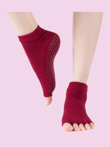 OneBling Open Toe Half Toe Grip Non-Slip Yoga,Ballet Cotton Socks