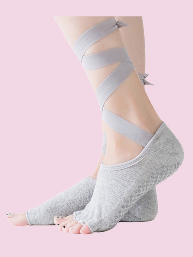 OneBling Lace-Up Half Toe Non-Slip Socks In Yoga, Ballet for Added Balance and Stability