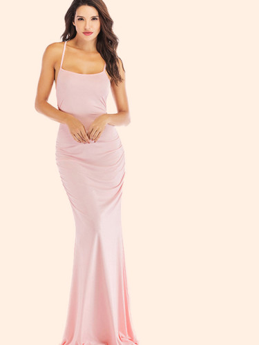OneBling Strappy Back Ruched Detail Cami Strap Fishtail Maxi Dress