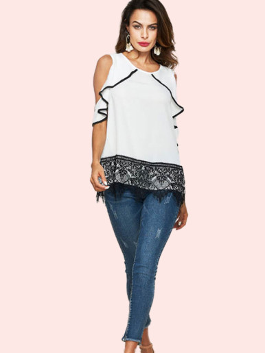 OneBling Lace Hem Open Shoulder Ruffles Sleeve T-Shirt with Contrast Binding