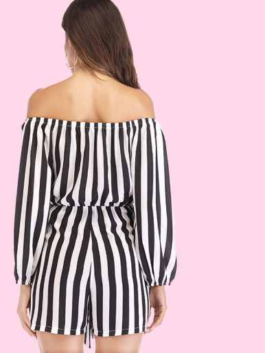 OneBling Tie Front Long Sleeve Off Shoulder Striped Playsuit