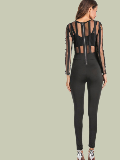 OneBling Long Sleeve Striped Mesh Top Skinny Jumpsuit
