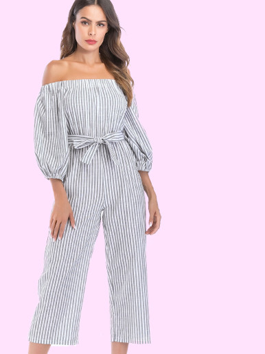 OneBling Ballon Sleeve Off Shoulder Cropped Jumpsuits In Stripe with Belt