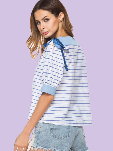 OneBling Contrast Shoulder and Cuff Puff Sleeve Striped Blouses with Ribbon Ties