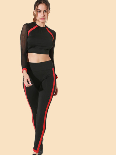 OneBling Red Tape Mesh Sleeve Crop Tops and Skinny Pants Set