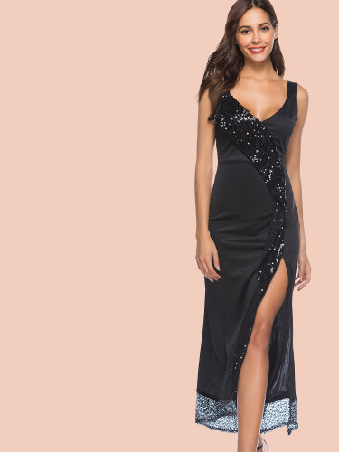 OneBling Asymmetric Sequins Frill Deep Plunge Maxi Dress with Split Side
