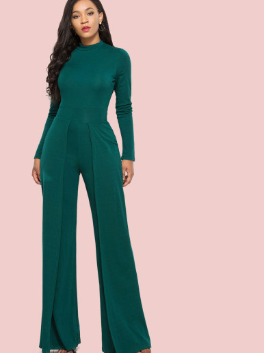 OneBling Mock Neck Long Sleeve Jumpsuit with Wide Leg
