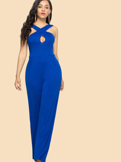 OneBling Plus Size Open Back Cross Front Wide Leg Sleeveless Jumpsuits