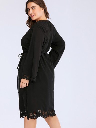 OneBling Plus Size Laser Cut Detail Scalloped Trim Midi Dress