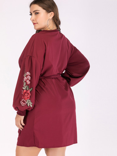 OneBling Plus Size Embroidery Ballon Sleeve Dropped Shoulder Mini Dress