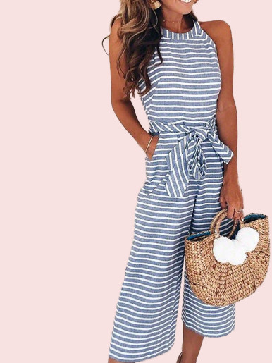 OneBling Sleeveless Striped Cropped Jumpsuit with Wide Leg