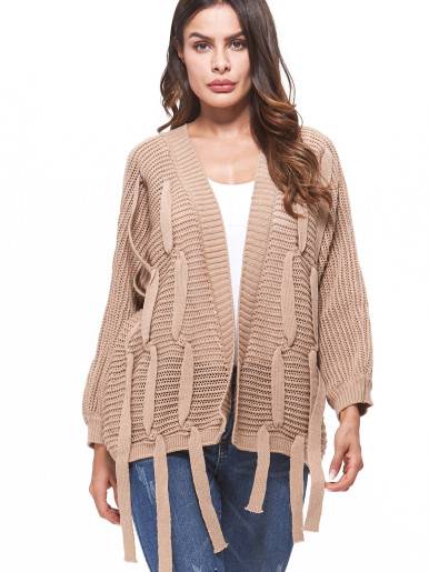 OneBling Cable Knit Cardigan with Rabbion Detail