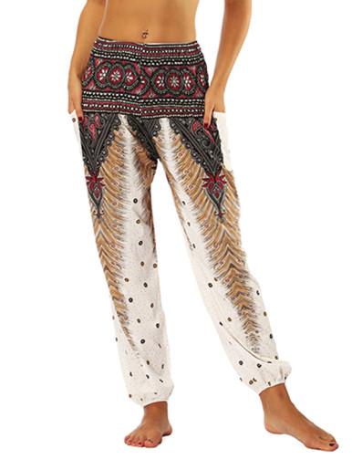 OneBling Ornate Print Shirred Waist Pocket Detail Pants