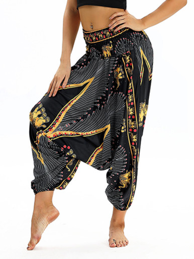 OneBling Tribal Print High Waist Pants with Dropped Crotch