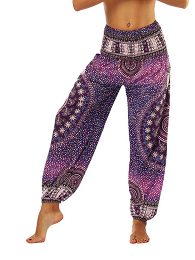 OneBling Spot Print High Waist Pants with Pockets