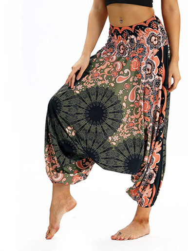 OneBling Ornate Print High Waisted Pants with Drop Crotch