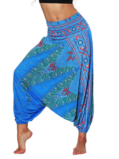 OneBling Printed High Waist Dropped Crotch Pants