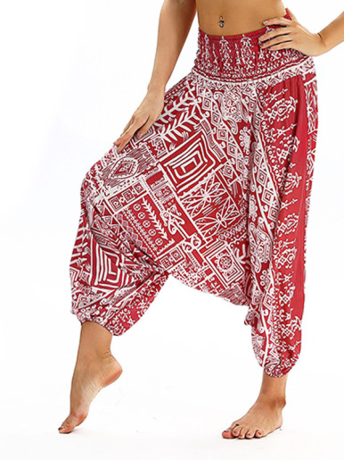 OneBling Geo Print Drop Crotch High Waist Pants