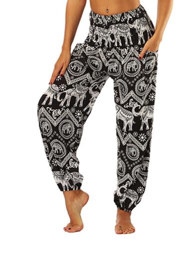 OneBling Tribal and Chevron Print Shirred Waist Pants