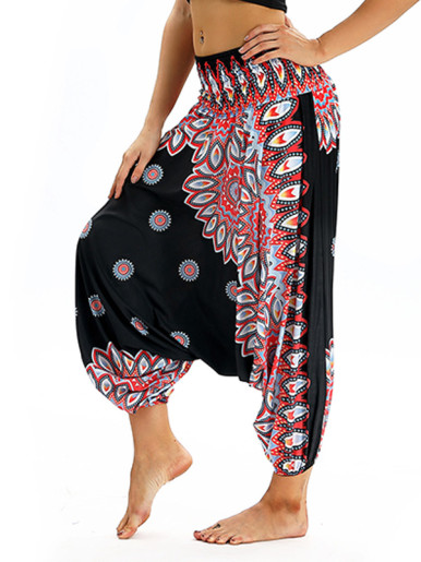 OneBling High Waist Pants with Dropped Crotch In Digital Print