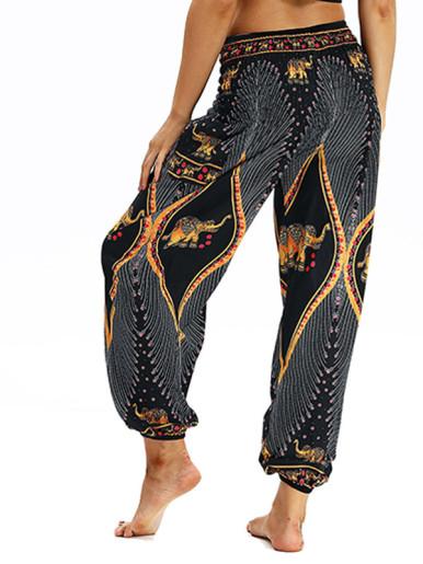 OneBling Digital Print Shirred Waist Pants with Pockets