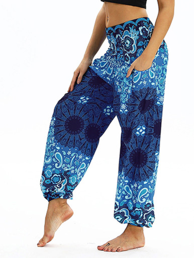 OneBling Pants In Paisley Print with Shirred Waist and Pockets