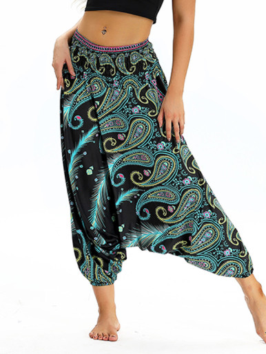 OneBling Paisley Print Drop Crotch High Waist Pants