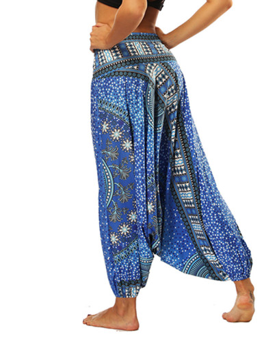 OneBling Ornate Print Harem Pants with Drop Crotch