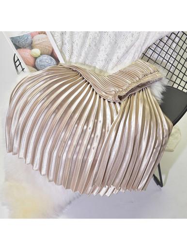 OneBling 80cm / 90cm Metallic Pleated High Waist Skirt