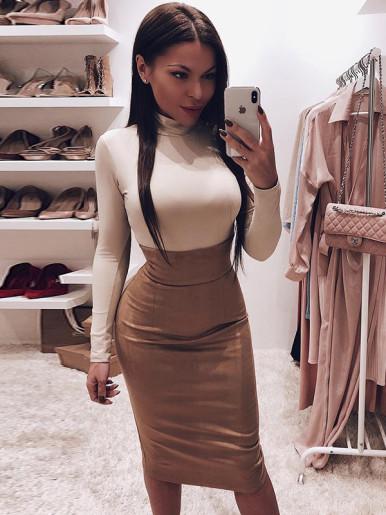 OneBling Solid Color Skinny Bodysuit