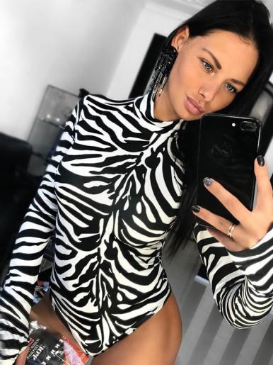 OneBling Zebra Print Skinny Bodysuit