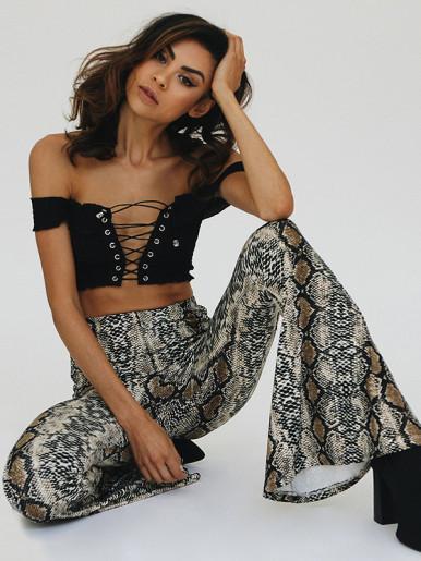 OneBling Snake Skin Print High Waist Flare Pants