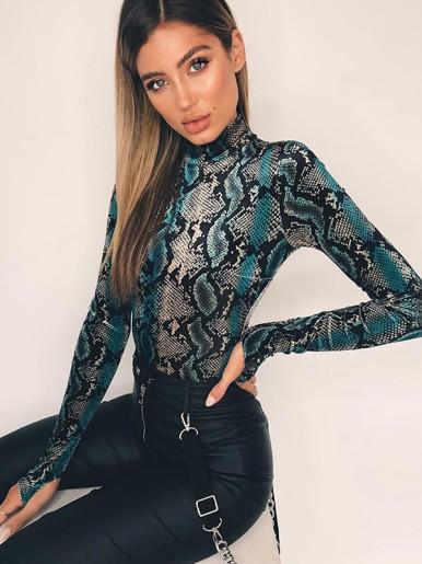OneBling Blue Snakeskin Print Long Sleeve Bodysuit