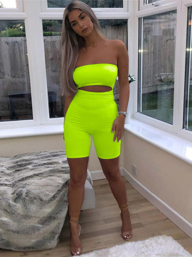 OneBling Bright Color Cut Out Detail Off Shoulder Playsuit