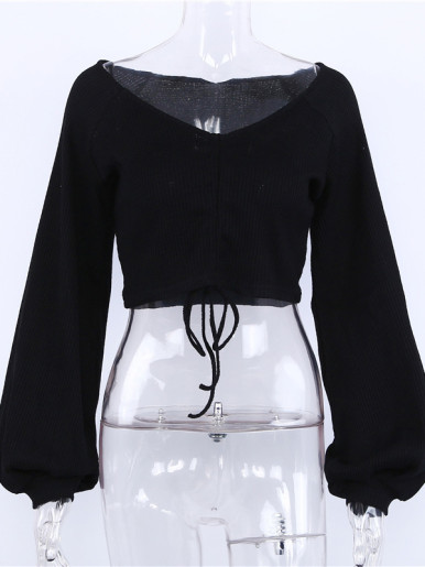 OneBling Drawstring Design Balloon Sleeve Crop Tops