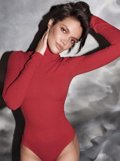 OneBling Solid Color High Neck Skinny Bodysuit