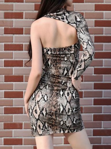 OneBling Snakeskin Print One Sleeve Bodycon Mini Dress with Side Split