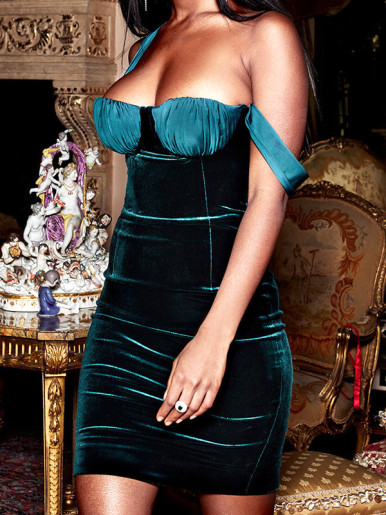 OneBling Ruched Corset Detail One Shoulder Velour Dress