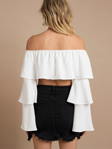 OneBling Tiered Flare Sleeve Off Shoulder Tops