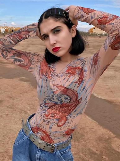 OneBling Fish Print Sheer Mesh Bodysuit