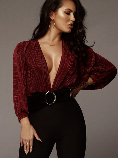OneBling Pleated Deep Plunge Bodysuit with Batwing Sleeve